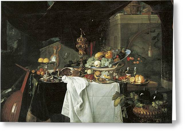 Dessert Still Life Greeting Card by Jan Davidsz de Heem