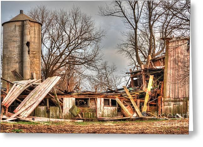 Destruction Barn Greeting Card by Deborah Smolinske