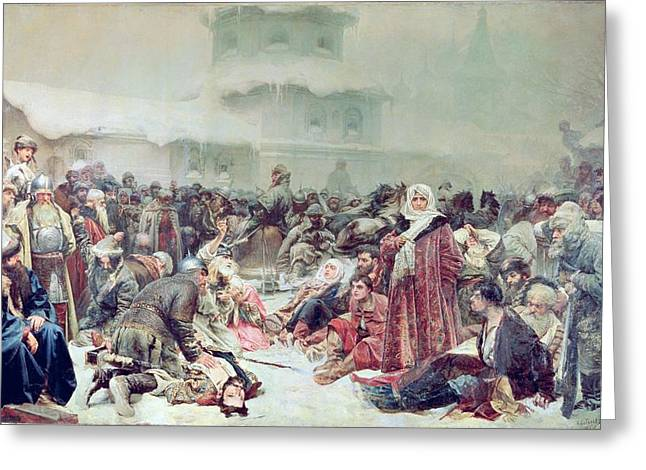 Destruction Of Novgorod By Tsar Ivan IIi 1440-1505 1889 Oil On Canvas Greeting Card by Klavdiy Vasilievich Lebedev