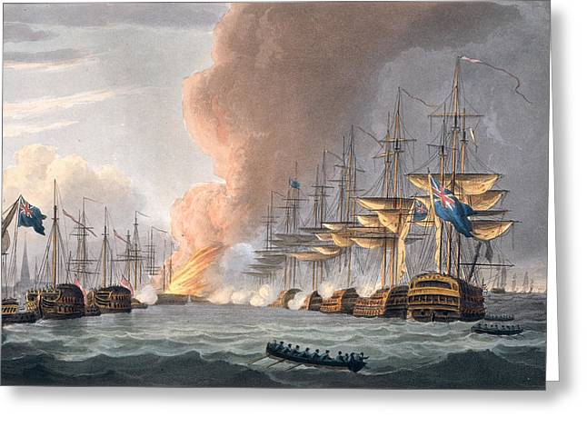 Destruction Of The Danish Fleet Greeting Card by Thomas Whitcombe