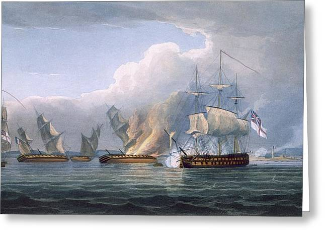 Destruction Of The French Frigates Greeting Card by Thomas Whitcombe