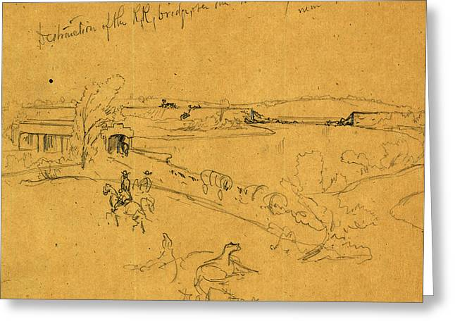 Destruction Of The R.r. Bridge, Over The Monocacy River Greeting Card