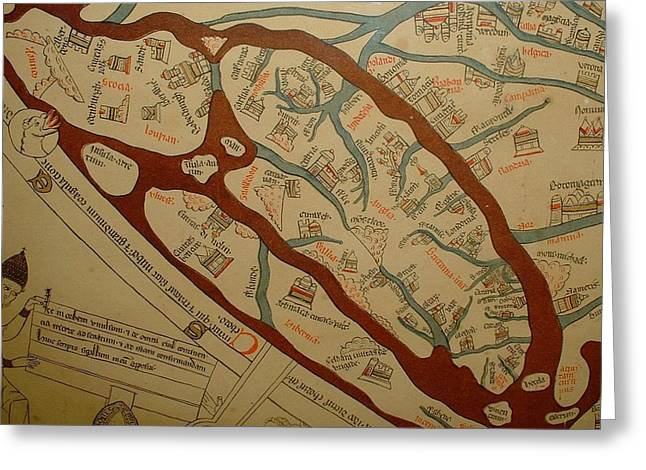 Detail From The Left Lower Portion Of Hereford Mappa Mundi 1300  Greeting Card