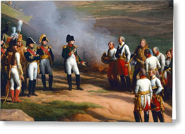 Detail From The Surrender Of Ulm, 20th October, 1805 - Napoleon And The Austrian Generals, 1815 Oil Greeting Card by Charles Thevenin