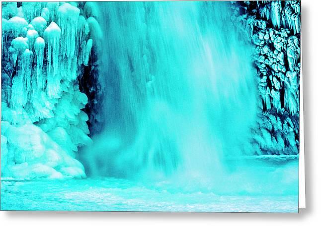 Detail, Lower Horsetail Falls, Winter Greeting Card