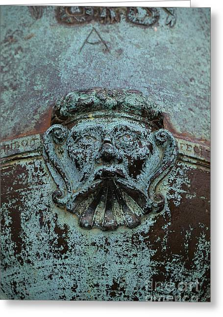 Detail Of A Bronze Mortar Greeting Card by Edward Fielding