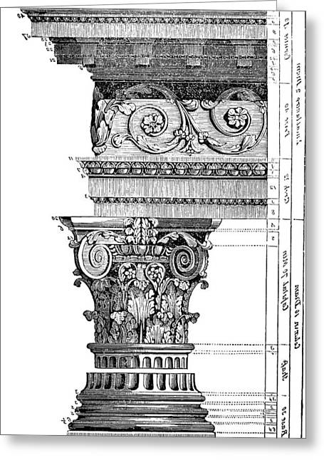 Detail Of A Corinthian Column And Frieze II Greeting Card by Suzanne Powers