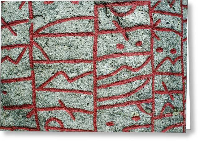 Greeting Card featuring the photograph Detail Of A Runic Stone by Kennerth and Birgitta Kullman