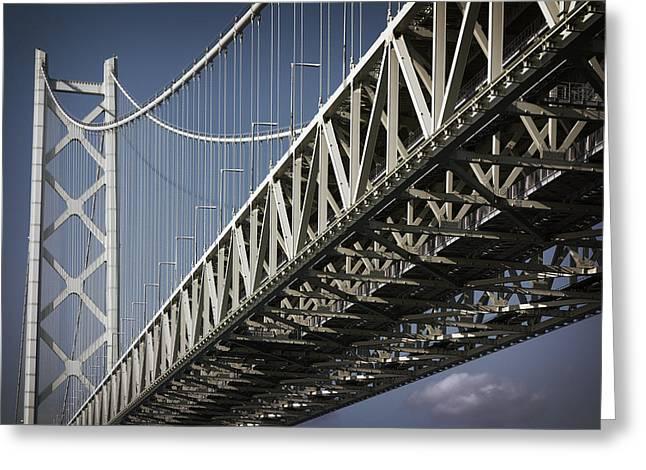 Detail Of Akashi Kaikyo Super Bridge Greeting Card