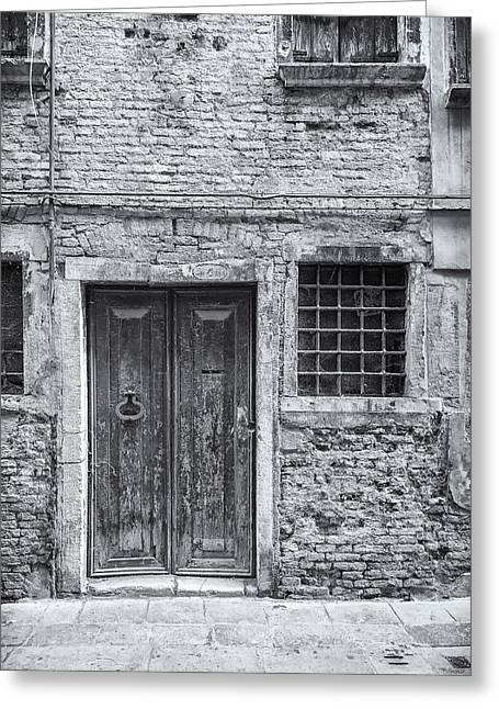 Detail Of Old Facade In Venice Greeting Card by Francesco Rizzato
