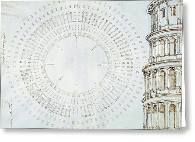 Detail Of Study With Map And Relief Of Colosseum Greeting Card by Giuliano da Sangallo
