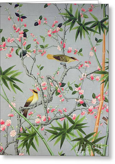 Detail Of The 18th Century Wallpaper In The Drawing Room Photograph Greeting Card by John Bethell