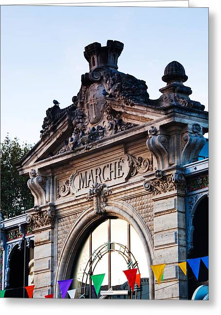 Detail Of The Covered Market, Narbonne Greeting Card by Panoramic Images