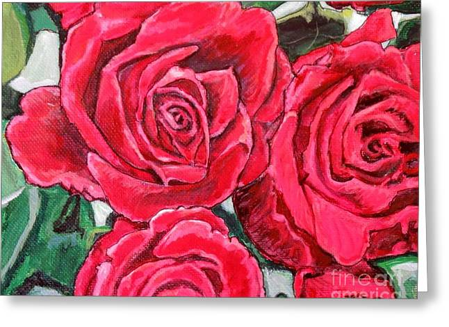 Detail Of The Delight Of Grandma's Roses Painting Greeting Card by Kimberlee Baxter