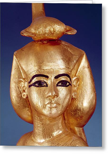 Detail Of The Goddess Selket From The Canopic Shrine, From The Tomb Of Tutankhamun Greeting Card by Egyptian School