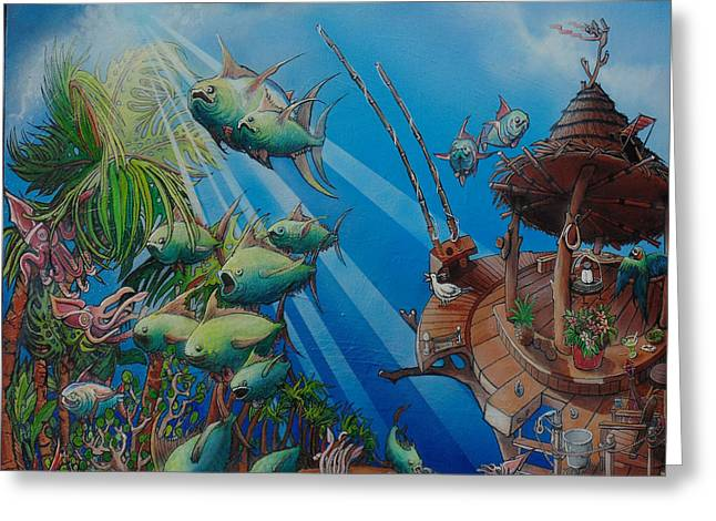 Detail Top Of The Great Tuna Mindgration Greeting Card by Stacey Heney