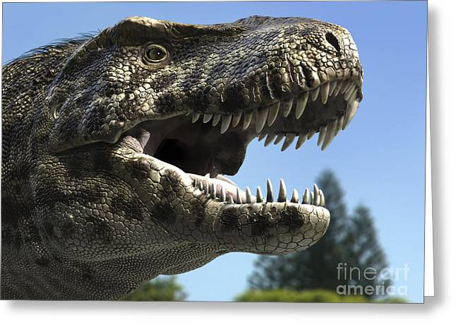 Detailed Headshot Of Tyrannosaurus Rex Greeting Card by Rodolfo Nogueira
