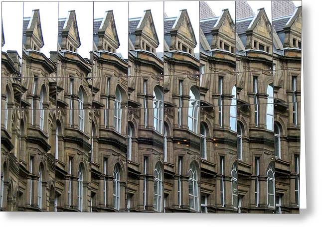 Detailed Window Reflections At The Bourse. Boar Lane. Leeds Uk. Greeting Card