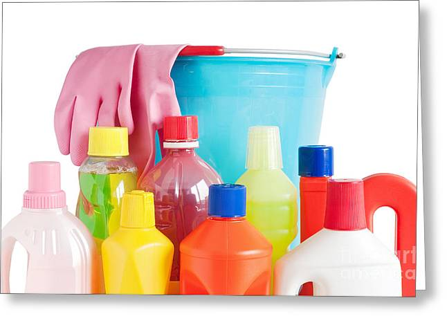 Detergent Bottles And Bucket Greeting Card by Antonio Scarpi
