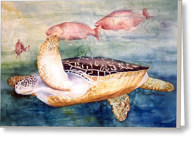 Greeting Card featuring the painting Determined - Loggerhead Sea Turtle by Roxanne Tobaison
