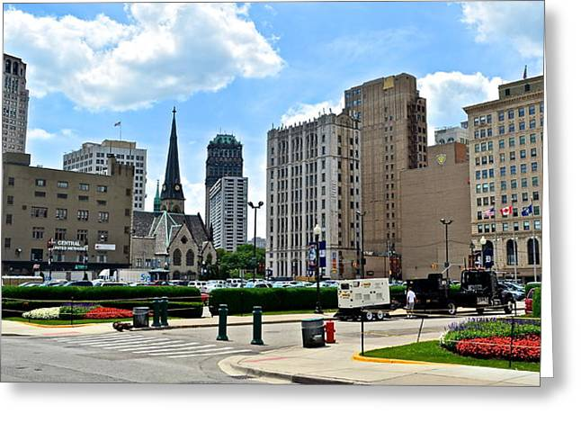 Detroit As Seen From Comerica Greeting Card