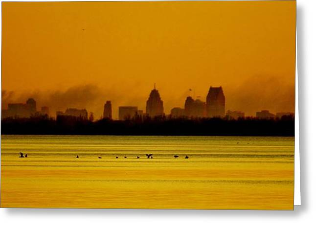 Detroit At Dawn Greeting Card