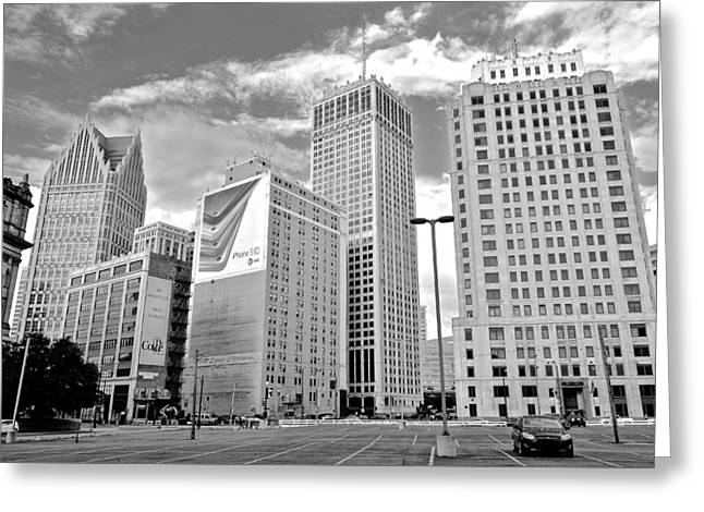 Detroit Black And White Greeting Card