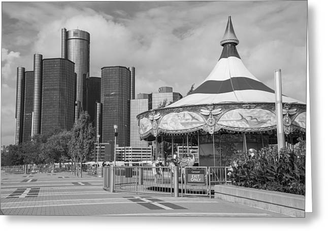Detroit Carousel And Renaissance Center Greeting Card by John McGraw