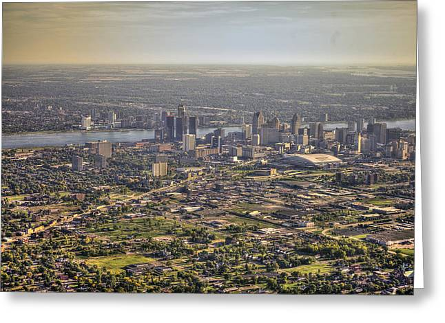 Detroit From Twenty Five Hundred Feet Greeting Card by A And N Art