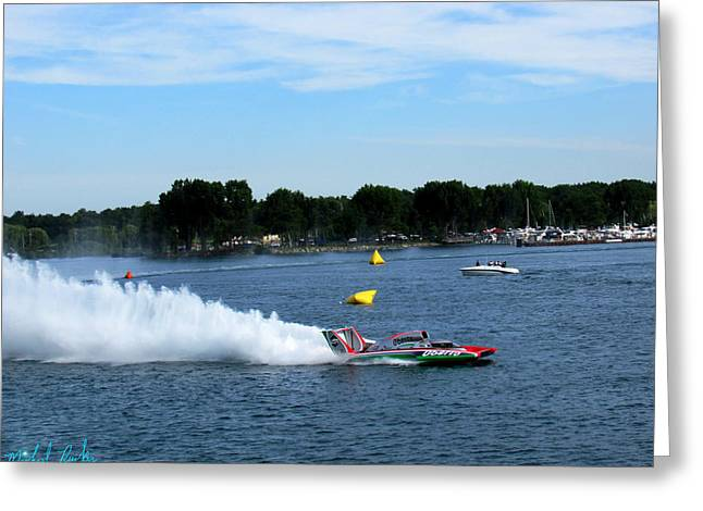 Detroit Hydroplane Race  Greeting Card by Michael Rucker