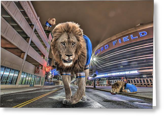 Detroit Lions At Ford Field Greeting Card by Nicholas  Grunas