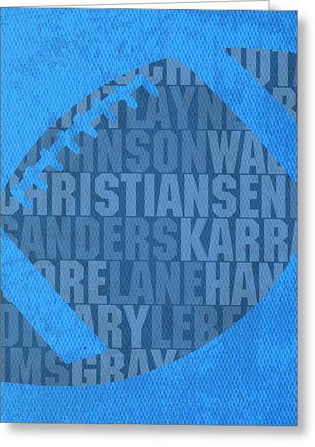 Detroit Lions Football Team Typography Famous Player Names On Canvas Greeting Card by Design Turnpike