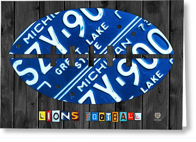 Detroit Lions Football Vintage License Plate Art Greeting Card
