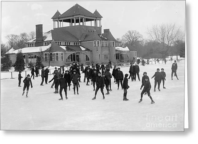Detroit Michigan Skating At Belle Isle Greeting Card by Anonymous