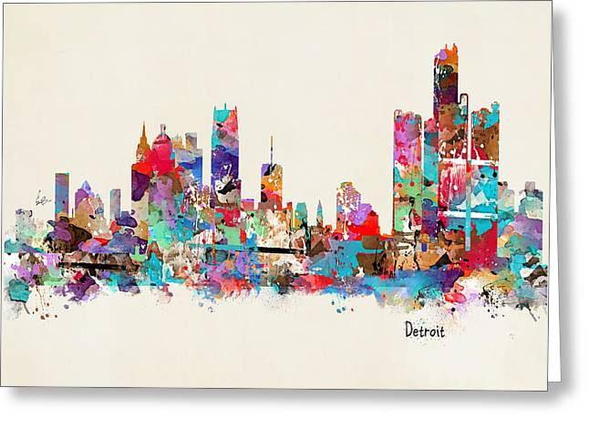 Detroit Michigan Skyline Square Greeting Card