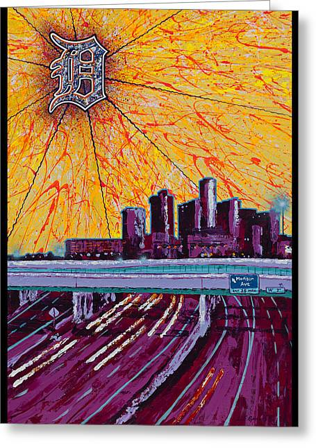 Detroit My City Greeting Card by Lance Graves