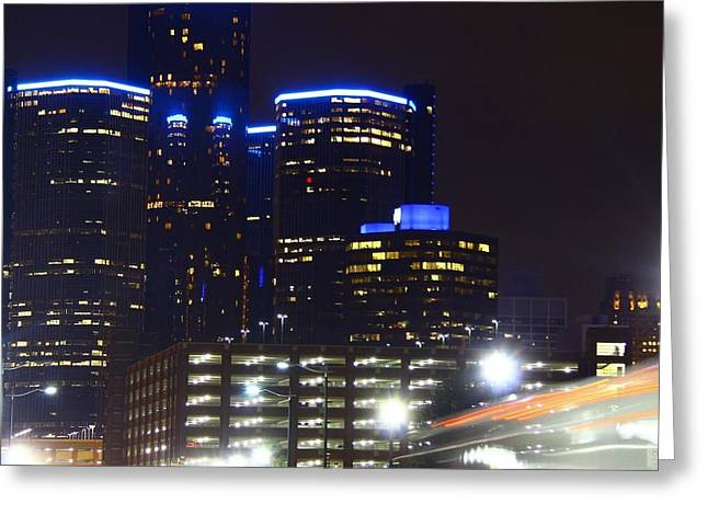Detroit Night Scape Greeting Card