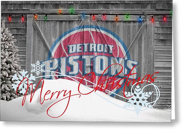 Detroit Pistons Greeting Card by Joe Hamilton