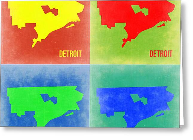 Detroit Pop Art Map 2 Greeting Card by Naxart Studio