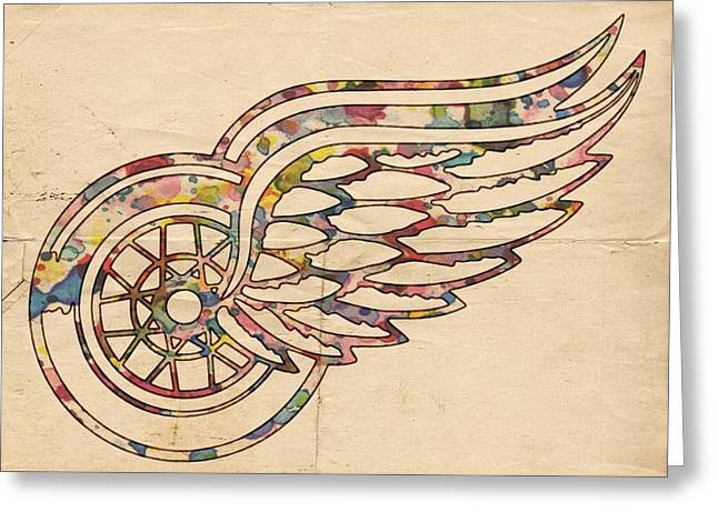 Detroit Red Wings Poster Art Greeting Card by Florian Rodarte