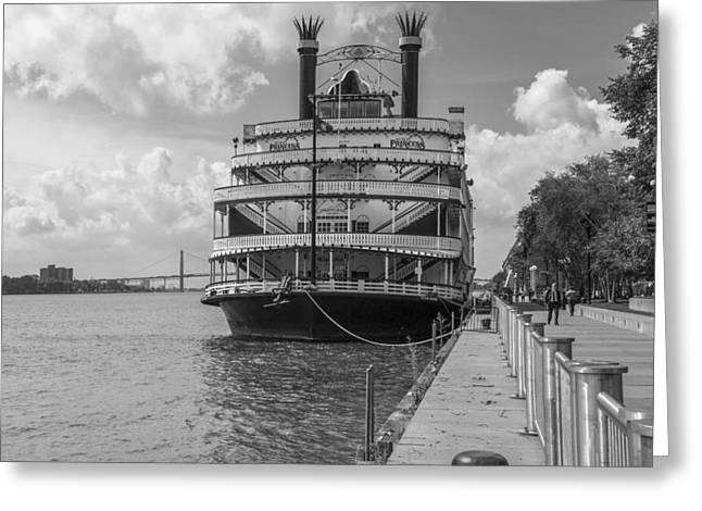 Detroit River Princess Black And White  Greeting Card