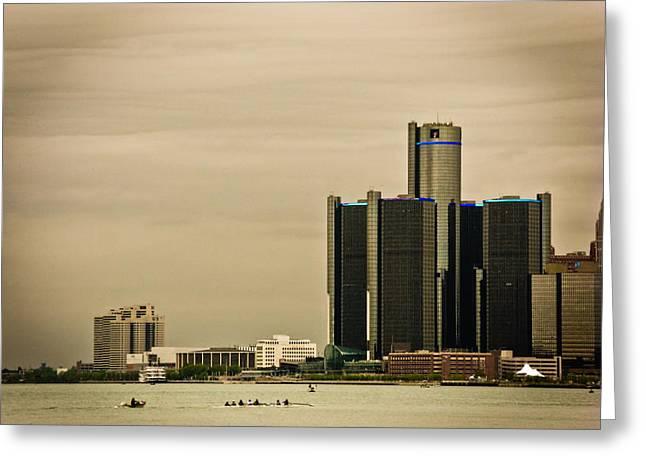 Detroit River Greeting Card by Winnie Chrzanowski