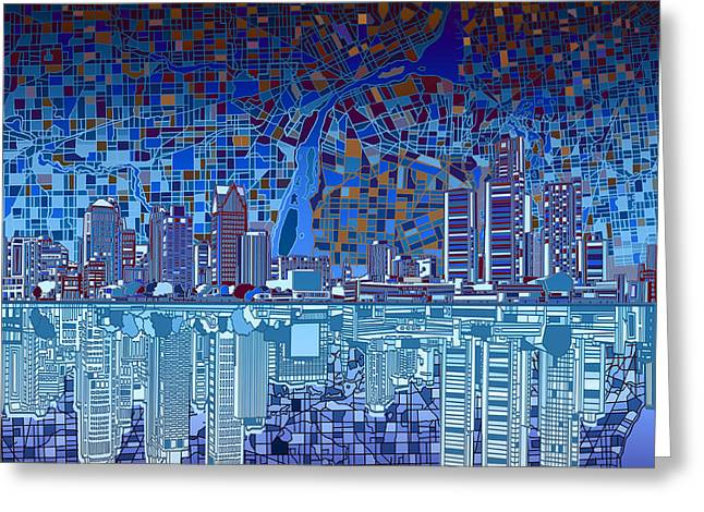 Detroit Skyline Abstract 2 Greeting Card