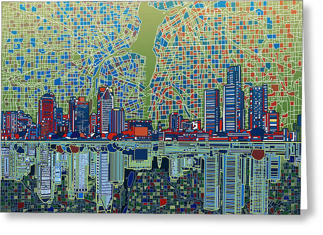 Detroit Skyline Abstract 3 Greeting Card