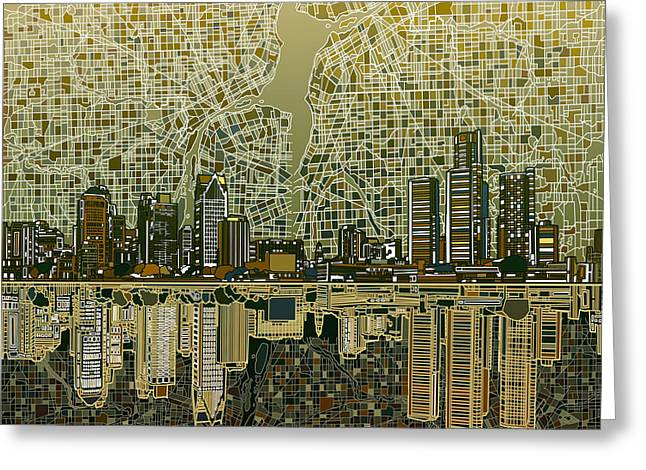 Detroit Skyline Abstract 4 Greeting Card