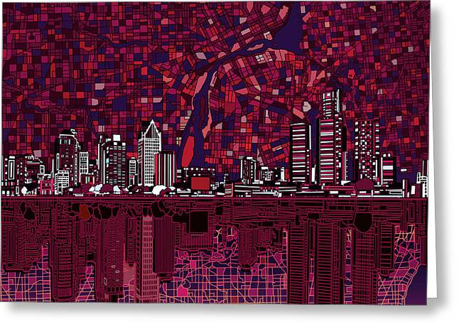 Detroit Skyline Abstract Greeting Card