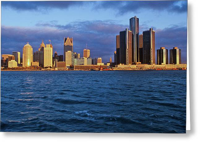 Detroit Skyline At Sunrise Greeting Card