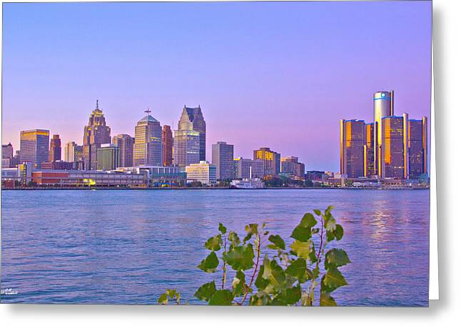 Detroit Skyline At Sunset Greeting Card