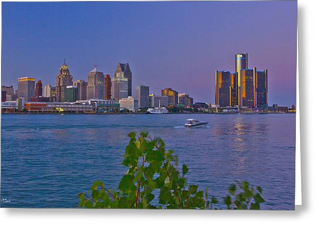 Detroit Skyline At Twilite With Boat Greeting Card by Bill Woodstock