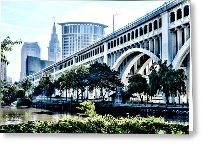 Greeting Card featuring the photograph Detroit-superior Bridge - Cleveland Ohio - 1 by Mark Madere